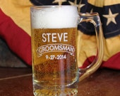 Personalized Custom Glass Sports Beer Mug Groomsmen Best Man and Groom Gifts perfect wedding party gifts