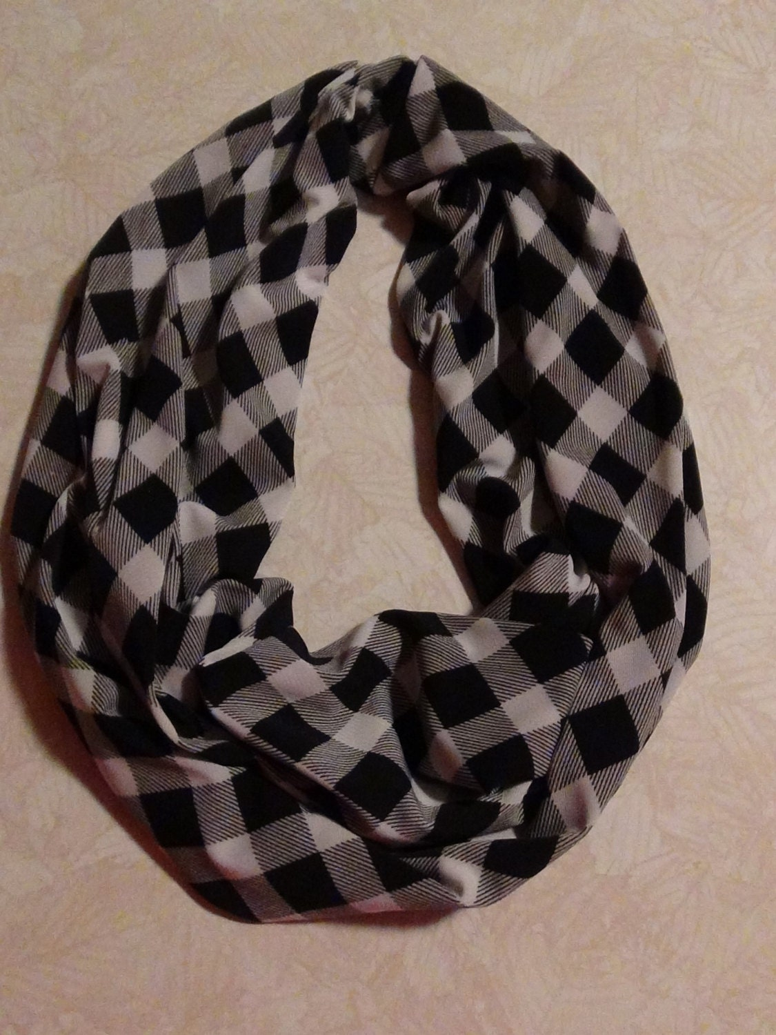 black and white checkered infinity scarf by livenlovecreations