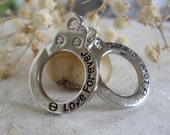 Handcuffs charm,Love Forever handcuffs charm,word charm