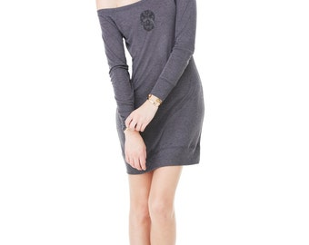 Lightweight Dark Heather Grey Sweater Dress with an Embroidered Lacy Skull