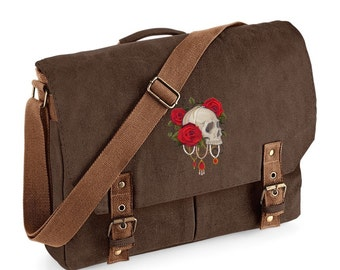 Vintage Canvas Messenger Bag with Embroidered 'Roses Skull'