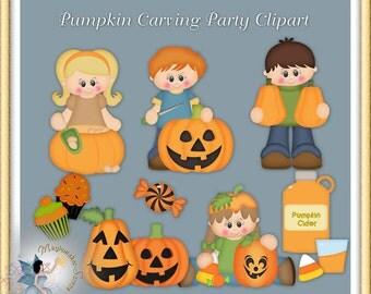 Autumn Clipart, Pumpkin Carving Party