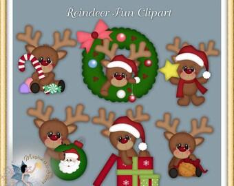 Reindeer Christmas Fun Clipart