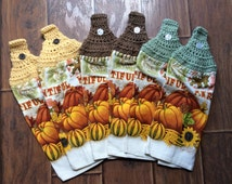 Beautiful Harvest Fall Towels with Crochet Topper