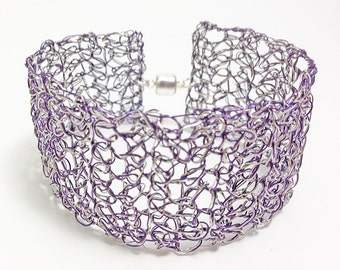 Crochet wire cuff bracelet. Silver and purple handmade wire crochet bracelet. Magnetic clasp. Handmade crochet wire jewelry