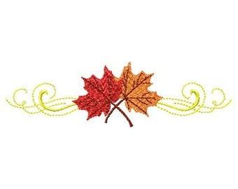 Machine Embroidery Fall Leaf Scroll
