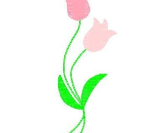 Machine Embroidery Double Tulip