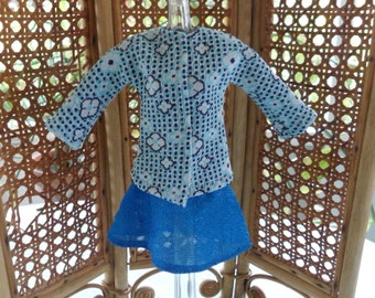 Vintage Barbie Clothes Mixed Lot Handmade Fashion Doll Jacket and Mattel Genuine Barbie Skirt Knit Barbie Doll Clothing Blue Black and White