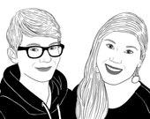 Custom Portrait, 2 people, digital drawing, unique gift for birthday, wedding… ! Black & White
