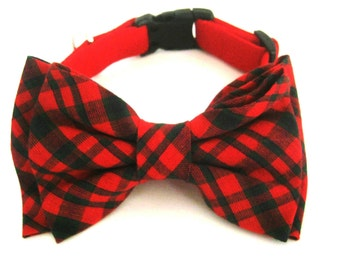 Dog collar Red dog collar with bow tie  Pet collar Dog bow tie collar