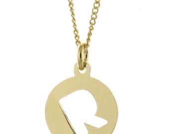 A - Z Custom Made 1 Initial Tag Pendant Necklace in 925 Sterling Silver  - Nameplate Necklace - Initial Necklace