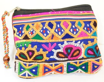 Indian mirror work small pouch (021)  Indian mirror work Pouch Ethnic pouch Hippie pouch Indian mirror work