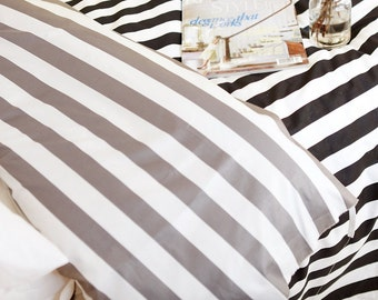 Twill Cotton Fabric Stripe in 2 Colors By The Yard