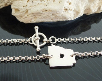 Sterling Silver Arkansas Bracelet / Custom Heart / Small Arkansas Bracelet / Love Arkansas / State Bracelet / Arkansas Wedding