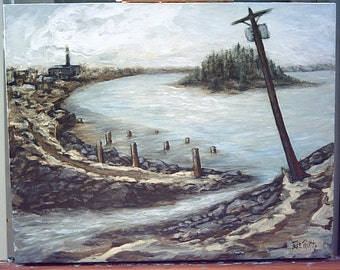 Harbor Path original seaside landscape acrylic painting 20 x 16 gallery canvas by Tree Pruitt
