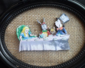 Vintage Alice in Wonderland, Mad Hatters Afternoon tea Party Brooch Pin