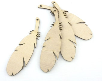 Laser cut wooden feathers