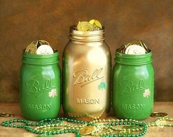 St. Patrick's Day - Office Decor - Mason Jar Decor - Painted Mason Jar - St. Patrick's Day Decor - Mason Jar - Table Centerpiece - Shamrock