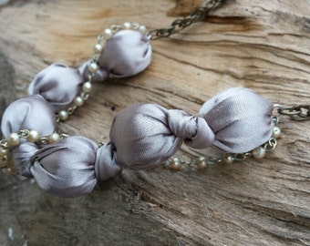 Necklace - Satin Knotted Bead & Vintage Pearl Chain