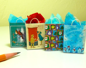 Christmas gift bags 4 dollhouse miniatures 1/12 scale.