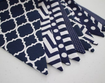 Navy & White Fabric Bunting Pennant Banner for Boys Room, Nursery, Nautical Baby Shower, First Birthday Party Decoration or Photo Prop