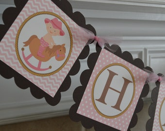Cowgirl Theme Happy Birthday Banner - Pink Cowgirl - Western Party - Pink and Brown - Western Theme -  Party Packs Available