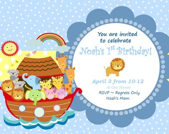 Noah's Ark Invitation - Noah's Ark Birthday Invitation -  Noah's Ark Baby Shower - Noah's Ark Theme Invitation - Available in ANY theme
