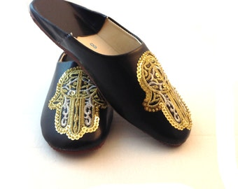 Moroccan slippers,Hamsa Moroccan babouche,Sequin slippers,Beach sandals