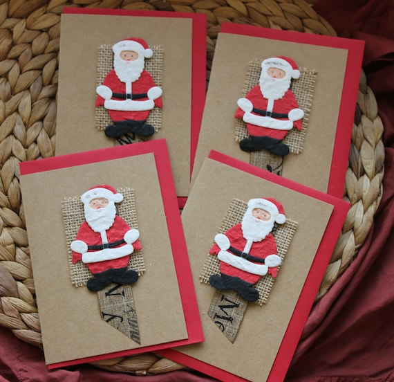 SET of 4 Cards A6 Size Cards Pack Christmas Cards Set Hessian Xmas Cards Burlap Holiday Cards Unique Christmas Card Pack UK Hessian Card Set