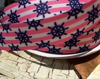 """7/8"""" Preppy Nautical Pink Navy and White Grosgrain sold by the yard"""