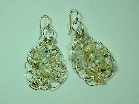 Handmade wire crochet earrings with pearls