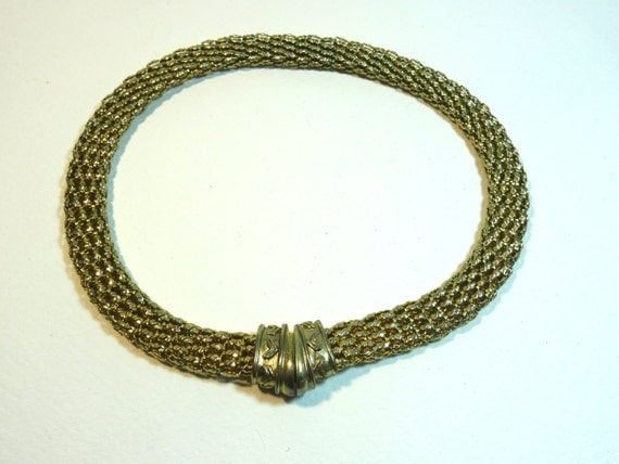 Vintage Gold color viking style flat net-like chain Necklace