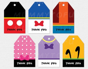 Mickey Mouse Clubhouse Party Thank You Favor Tags - Mickey Minnie Mouse Donald Daisy Duck Goofy Pluto - DIY Party Printable Instant Download