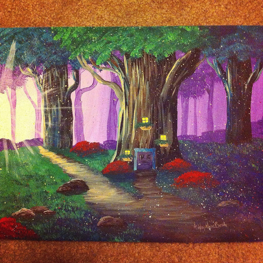 Tree home in enchanted forest acrylic painting for Painting a forest in acrylics