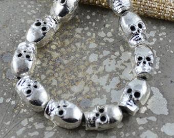 9mm Metal Skull Beads,metal beads,Skull Beads, Large Skull Beads, Silver Color Skull Beads,14x9mm,2mm Hole, Gothic, Punk, Pairs, TU