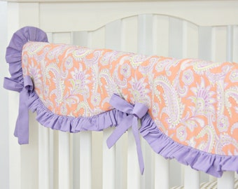 20% OFF SALE!!- Purple Paisley Crib Rail Cover for Bumperless Bedding | Teething Guard lavender and coral