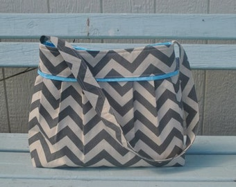 The Heather large grey and blue chevron Diaper Bag
