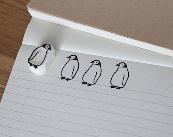 Penguin rubber stamp. Hand carved stamp. Handmade stamp. Unmounted stamp. Cute stamp for gift wrapping, scrap booking.