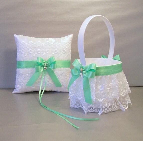 Flower Girl Baskets Green : Mint green wedding bridal flower girl basket and ring bearer