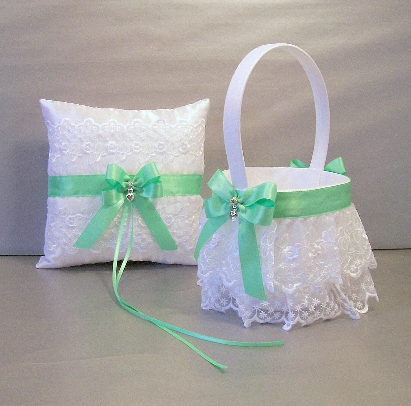 Amazing wedding ring pillow set wedding mint green wedding bridal flower girl basket ring bearer izmirmasajfo