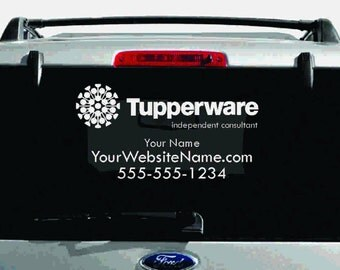 SALE- Tupperware Single-Color Logo Car Decal with Custom Name, Website, etc.