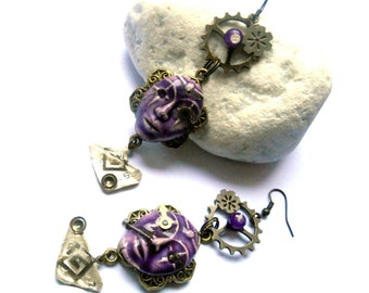 Of steampunk earrings man the workings of time