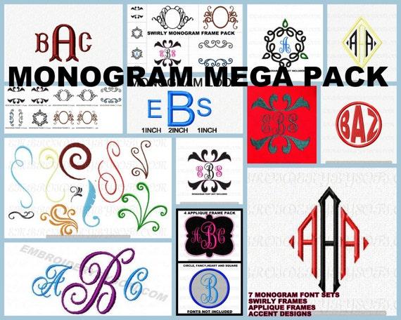 Download Monogram swirlinterlockvine font mega pack by EmbroideryBySofi