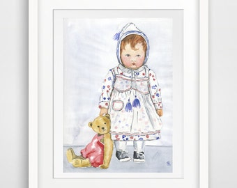 teddy print art, children giclee print, children wall decor, children wall art, children wand decor, childs room decor