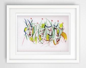 original colorful print abstract landscape original watercolor original painting modern wall painting print green grass