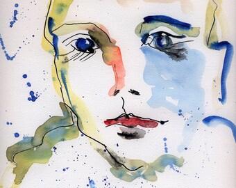 watercolor portrait, portrait painting, portrait print, abstract portrait, portrait print 8x10, portrait art, modern portrait