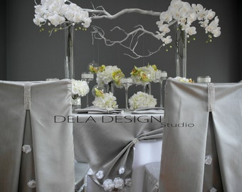 New 2015 collection ! Silver Silk Dupioni Table cloth / runner - Home Party Decor -  Sweetheart Table - Tablescape Wedding Event