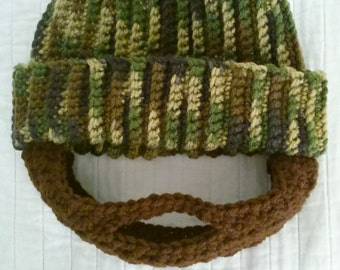 Crochet Camo Bearded Hat