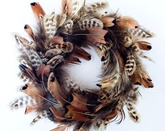 Christmas ornament wreath -Tree Ornament - Wreath-  Feather mini wreath