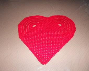 Hand crocheted doily - heart shape - Valentine's day